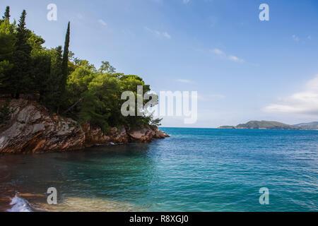 The island of Sveti Nikola from Miločer Plaža, Montenegro - Stock Photo