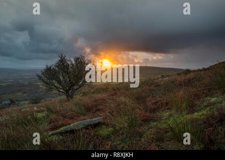Sunrise at with beautiful clouds and colours in the sky, Stowes Hill, Bodmin moor, Cornwall, UK Stock Photo