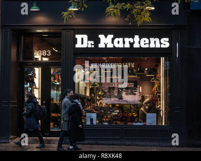 MONTREAL, CANADA - NOVEMBER 5, 2018: Dr Martens logo on their main shop for Montreal, Quebec. Dr Martens is a British footwear, shoes and apparel comp - Stock Photo