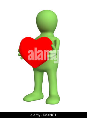 3d person - puppet, holding in hands red heart. Objects over white - Stock Photo