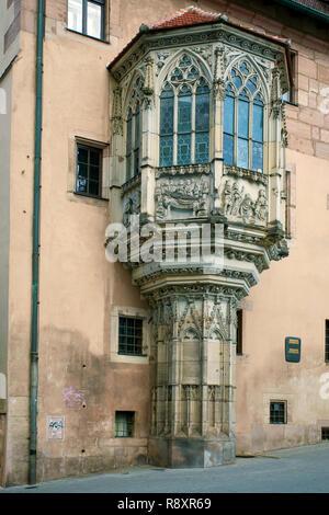 Bowfront, rectory, Sebaldus church at old town, Nuremberg, Franconia, Bavaria, Germany, Europe - Stock Photo