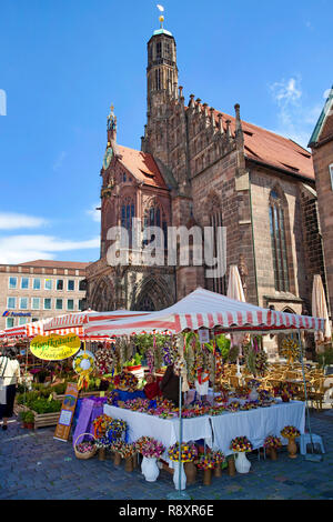 Women church (german:Frauenkirche) at Main market, old town, Nuremberg, Bavaria, Germany, Europe - Stock Photo