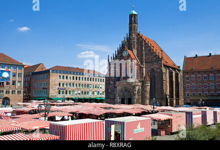 Main market, behind the Church of Our Lady, old town, Nuremberg, Franconia, Bavaria, Germany, Europe - Stock Photo