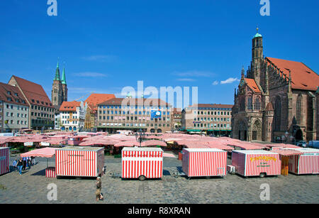 Main market, behind left side the Sebaldus church, right side the Church of Our Lady, old town, Nuremberg, Franconia, Bavaria, Germany, Europe - Stock Photo