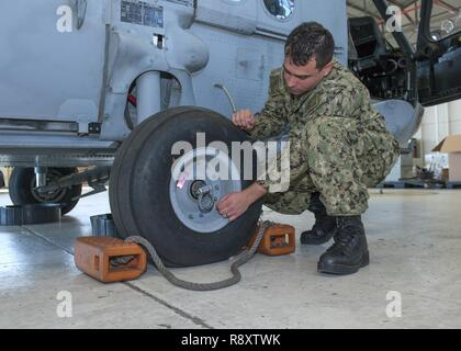 PANAMA CITY, Florida - Logistics Specialist Second Class Michael Semler explains how the smallest parts on the helicopter are important to its mission while performing a walk around the aircraft March 16, 2017. U.S. Navy - Stock Photo