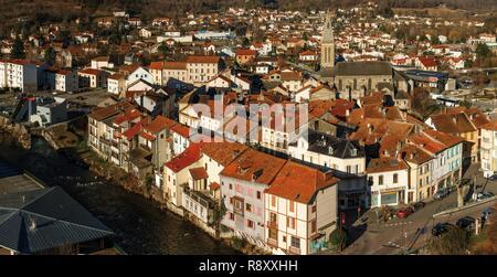 France, Pyrenees, Ariege, Tarascon-sur-Ariege, morning view of the historical city center of Tarascon - Stock Photo