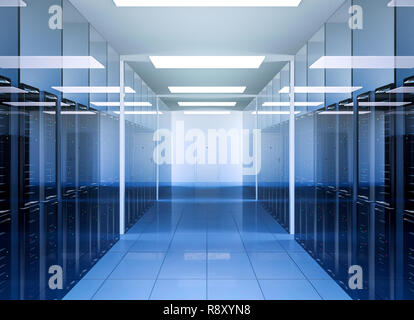Network and internet communication technology in data center server room interior, 3D Rendering - Stock Photo