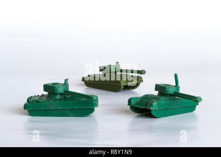 toy war tanks isolated on white background, plastic tank, plastic toy war tanks - Stock Photo