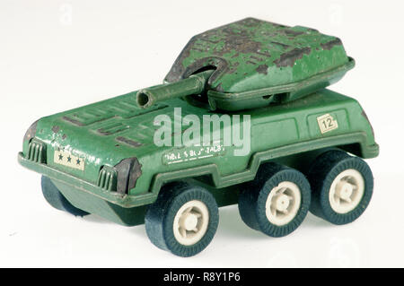 toy war tank isolated on white background, vintage toy war tank, old war tank - Stock Photo