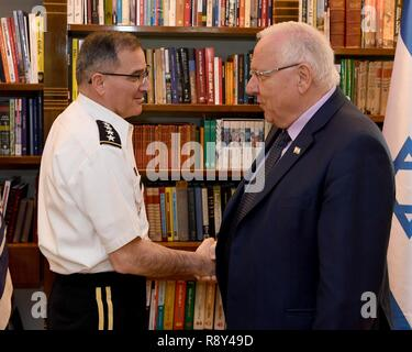 U.S. European Command Commander General (****) Curtis M. Scaparrotti met Israeli Defense Forces Chief of Staff Lt. Gen Gadi Eizenkot at the IDF headquarters in Tel Aviv this morning. He then traveled to Jerusalem and met Israeli President Reuven Rivlin at the President's Residence. Later in the day, General Scaparrotti was given a guided tour of Yad Vashem Holocaust Memorial Museum, and laid a wreath at the Hall of Remembrance in memory of the victims of the Holocaust. - Stock Photo