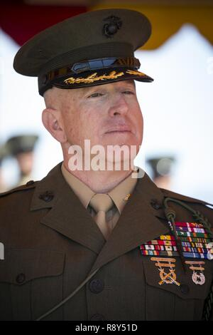 U.S. Marine Corps Col. Kenneth Kassner, former commanding officer, 5th Marine Regiment, 1st Marine Division, listens during a change of command ceremony, Camp Pendleton, Calif., Mar. 03, 2017. Col. Kenneth Kassner relinquishes command of 5th Marine Regiment to Col. George Schreffler. - Stock Photo
