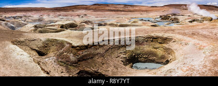 Sol de Mañana Geyser an amazing Earth power representation inside the Bolivian Altiplano we can see the awe volcanic landscape feeling the extreme - Stock Photo