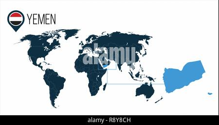 Yemen location on the world map for infographics. All world countries without names. Yemen round flag in the map pin or marker. vector illustration on - Stock Photo