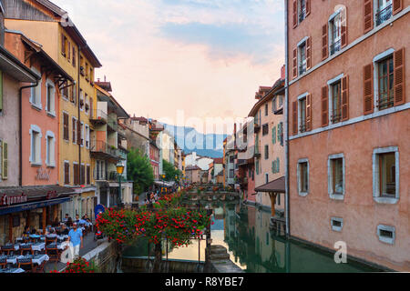 In the streets of amazing Annecy. Annecy is the largest city of Haute Savoie department and is known to be called the French Venice - Stock Photo
