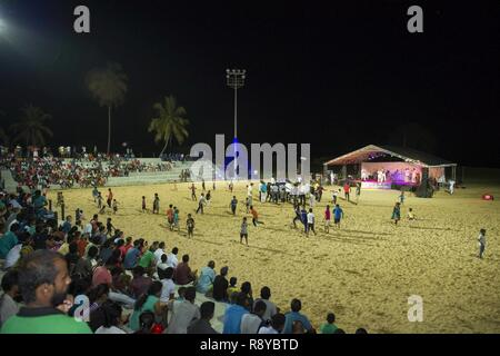 HAMBANTOTA, Sri Lanka (March 11, 2017) U.S 7th Fleet Band, Far East Edition, performs at Hambantota Beach Park as part of Pacific Partnership 2017. Pacific Partnership is the largest annual multilateral humanitarian assistance and disaster relief preparedness mission conducted in the Indo-Asia-Pacific and aims to enhance regional coordination in areas such as medical readiness and preparedness for manmade and natural disasters. - Stock Photo