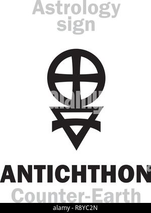 Astrology Alphabet: ANTICHTHON / Counter-Earth (also: Gloria, Horus, Vulcan), Earth analog, hypothetical planet of Pythagoreans. Hieroglyphics sign. - Stock Photo