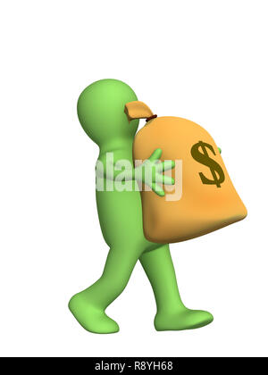 3d puppet, carrying in hands the big bag of money. Objects over white - Stock Photo