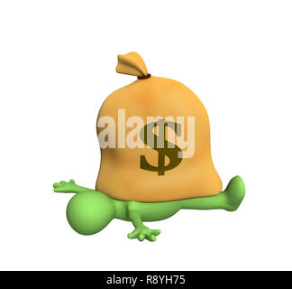 3d person - puppet, pressed down by a bag with dollars. Objects over white - Stock Photo