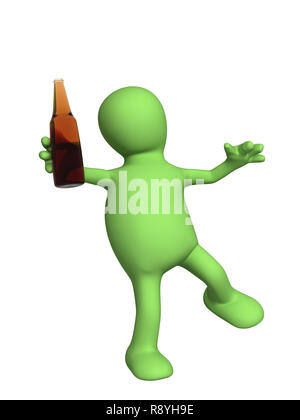 Drunk 3d doll - puppet with a bottle. Objects over white - Stock Photo
