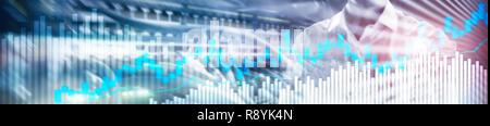 Online trading, FOREX, Investment concept on blurred business center background. Website header banner. - Stock Photo