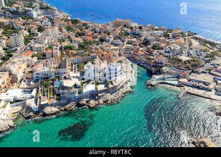 France, Bouches du Rhone, Marseille, 7th arrondissement, Endoume district, Anse and Malmousque harbor (aerial view) - Stock Photo