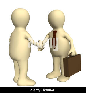 Shake hand of two 3d stylized people . Objects over white - Stock Photo