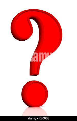 Question mark of red color - objects over white - Stock Photo