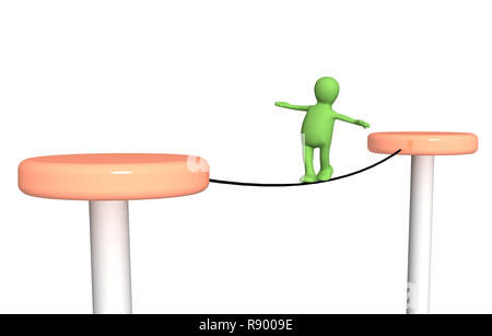 3d person,  going on a rope - Stock Photo
