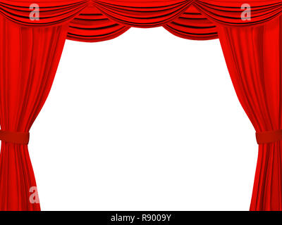 Theatrical curtain of red color. Object over white - Stock Photo