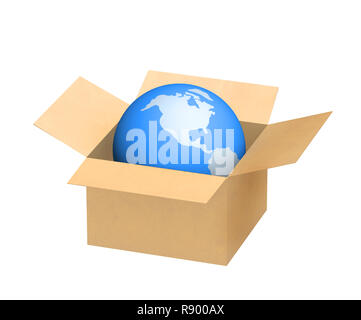 Planet the Earth in a cardboard box. Object over white - Stock Photo