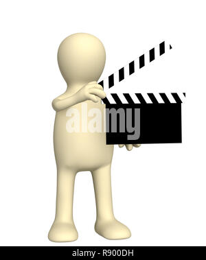3d puppet on shootings of film. Over white - Stock Photo
