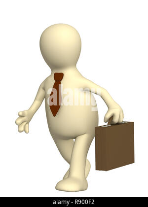 Puppet - businessman with a portfolio and in a tie - Stock Photo