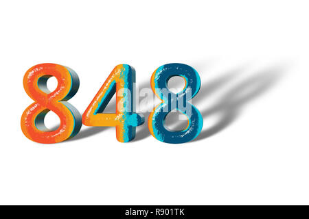 3D Number 848 forty eight hundred eight lively colours - Stock Photo