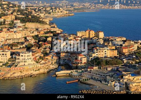 France, Bouches du Rhone, Marseille, 7th district, Endoume district, Anse de Malmousque, the residence of the King of Spain in the background (aerial view) - Stock Photo