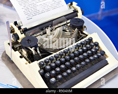 0625b471427 part of vintage portable typewriter with Cyrillic letters · Old mechanical  typewriter with russian keyboard - Stock Photo