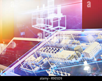 Presentation model of oil factory on exhibition - Stock Photo