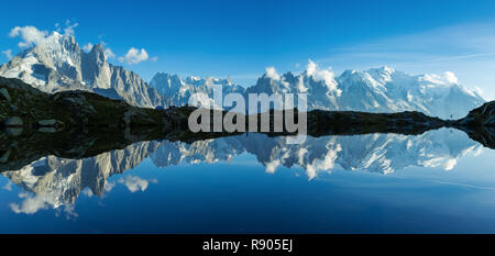 Panorama of the Mont Blanc massif reflected in Lac de Chesery. Chamonix, France. - Stock Photo