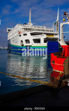 Victoria of Wight hybrid power car ferry at Porstmouth Camber Docks - Stock Photo