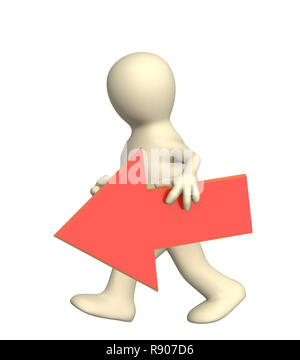3d puppet with red arrow - Stock Photo