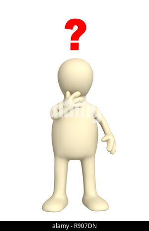 3d puppet thinking of the decision of a problem - Stock Photo