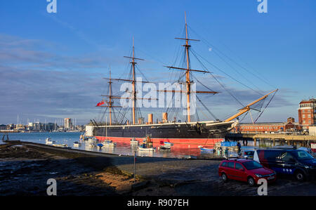 HMS Warrior the Navy's first ironclad ship, at Portsmouth dockyard viewed from The Hard, Portsea - Stock Photo