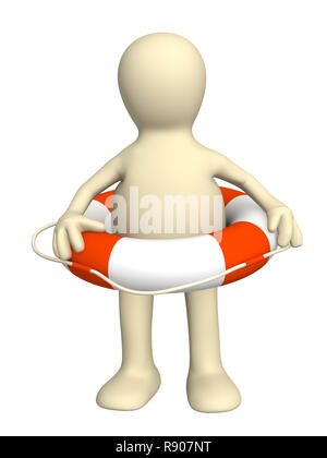 Puppet with a lifebuoy ring - Stock Photo