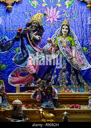 Deities in Sri Krishna Balaram Mandir, ISKCON Temple of Vrindavan. Vrindavan is considered to be a holy place. The major tradition followed in the are - Stock Photo
