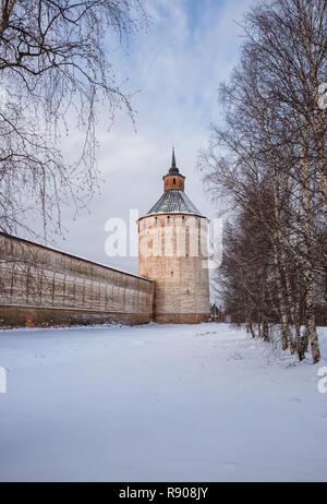 Ferapontovskaya (Moscow) Tower (1660) of the Kirillo-Belozersky Monastery, Vologda Region, Russia - Stock Photo