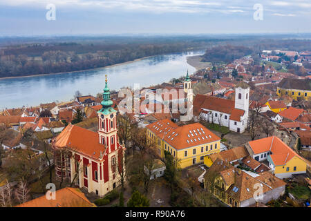 Szentendre, Hungary - Aerial skyline view of Szentendre, the small and lovely riverside town in Pest County at winter time - Stock Photo