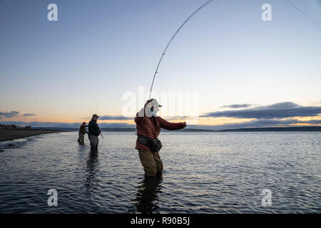 Two fly fishermen cast for searun coastal cutthroat trout and salmon with their guide standing between them on a salt water beach  on a beach on the w - Stock Photo