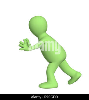 3d puppet, pushing invisible object - Stock Photo