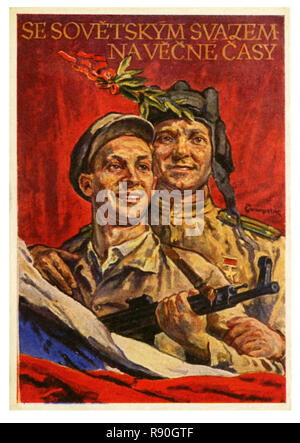 With The Soviet Union Forever - Vintage U.S.S.R Communist Propaganda Poster - Stock Photo