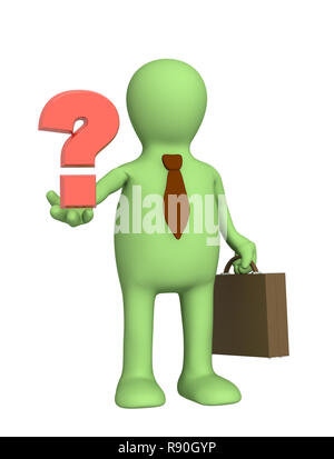 3d puppet - businessman with a question mark - Stock Photo