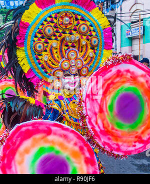 BACOLOD , PHILIPPINES - OCT 28 : Participants in the Masskara Festival in Bacolod Philippines on October 28 2018. Masskara is an annual festival held